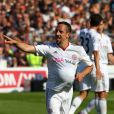 Franck Ribéry célèbre sa femme enceinte grâce à son but le 7 mai 2011 à Hambourg