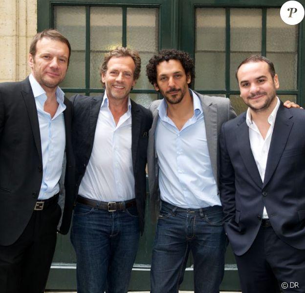 Samuel Le Bihan, Stéphane Freiss, Tomer Sisley et François Xavier Demaison lors du déjeuner Père & Fils, au Taillevent, à Paris, le mardi 14 juin 2011.