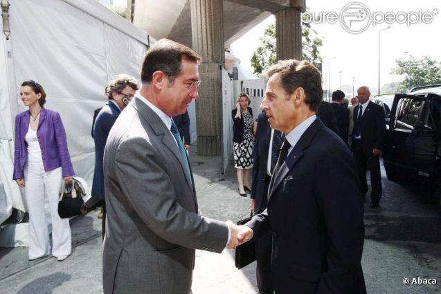Martin Bouygues et Nicolas Sarkozy, à Paris, le 30 juin 2009.