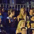 Pierre Casiraghi accompagné de sa douce Beatrice Borromeo assis à côté de sa soeur Alexandra et sa maman Caroline de Hanovre lors du concert évènement de Jean-Michel Jarre donné en l'honneur du mariage du Prince Albert avec Charlene Wittstock, le 1er juillet 2011 à Monaco