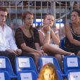 Louis, Pauline et Camille avec leur mère Stéphanie de Monaco lors du concert évènement de Jean-Michel Jarre donné en l'honneur du mariage du Prince Albert avec Charlene Wittstock, le 1er juillet 2011 à Monaco
