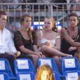 Stéphanie de Monaco avec ses trois enfants Louis et Pauline Ducruet et Camille Gottlieb lors du concert évènement de Jean-Michel Jarre donné en l'honneur du mariage du Prince Albert avec Charlene Wittstock, le 1er juillet 2011 à Monaco