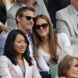 Jenson Button et sa compagne Jessica au tournoi de Wimbledon, le 3 juillet 2011.