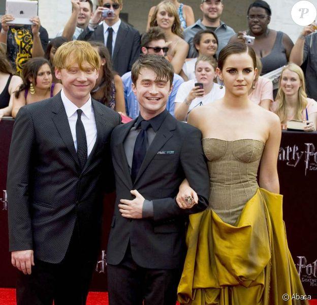 Daniel Radcliffe, Emma Watson et Rupert Grint à l'avant-première new-yorkaise de Harry Potter et les reliques de la mort - partie 2, le 11 juillet 2011.