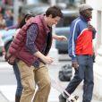 Corey Monteith, qui incarne l'un des héros de  Glee , Finn Hudson, lors du tournage d'un épisode de la série dans les rues de New York.