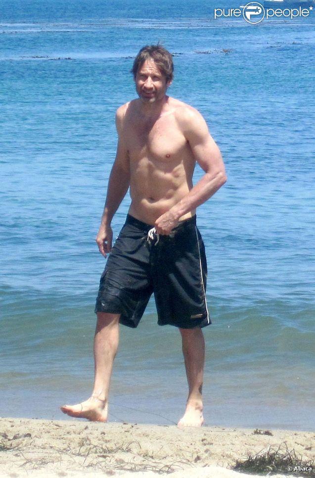 David Duchovny et ses enfants à la plage à Los Angeles le 4 juillet 2011
