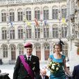 La princesse Mathilde, superbe en bleu, et le prince Philippe de Belgique assistaient à la messe de la Fête Nationale, le 21 juillet 2011 au matin, à Louvain.