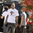 Chris Brown et Justin Bieber se rendent dans un studio d'enregistrement à Los Angeles, lundi 18 juillet, pour travailler sur le nouvel album de ce dernier.