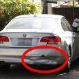 Le pare-choc arrière de la voiture de Chaz Bono est endommagé à West Hollywood le 22 août