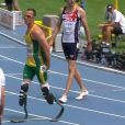 Oscar Pistorius, sa première course sur 400m lors des championnats du monde de Daegu en Corée du Sud le 29 août 2011