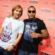 David Guetta avec Flo Rida fêtent la sortie de  Nothing but the beat  et de son documentaire sur Hollywood boulevard, à Los Angeles, le 30 août 2011.
