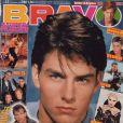 Cheveux bruns foncés et yeux clairs, Tom Cruise fait fantasmer les jeunes filles du monde entier. Couverture de  Bravo , 16 décembre 1987.
