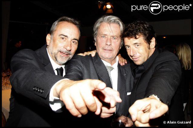 Antoine Duléry, Alain Delon et Patrick Bruel lors du dîner organisé au Musée Rodin à l'occasion de la journée de l'Azerbaïdjan. Paris, le 15 septembre 2011.