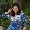 Fran Drescher, heureuse, lors du photocall pour promouvoir sa série télévisée Happily Divorced lors du marché international des contenus audiovisuels MIPCOM, à Cannes, le 3 octobre 2011