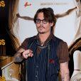 Johnny Depp lors de l'avant-première de Rhum Express, le 8 novembre 2011, à Paris.