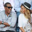 Jay-Z et sa femme Beyoncé à l'US Open à New York le 12 septembre 2011