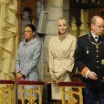 Stéphanie, Charlene et Albert lors de la messe donnée en Notre-Dame-Immaculée pour la fête nationale à Monaco. Il s'agit de la première pour Charlene en tant que princesse. Le 19 novembre 2011