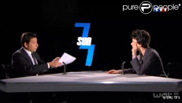 Laurent Gerra et Virginie Lemoine, dans la peau de DSK et Anne Sinclair, dans l'émission Laurent Gerra ne s'interdit rien, diffusée le samedi 10 décembre 2011 sur TF1.