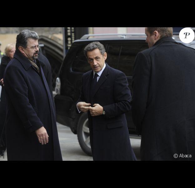 Nicolas Sarkozy lors des funérailles d'Etat de Vaclav Havel à Prague le 23 décembre 2011