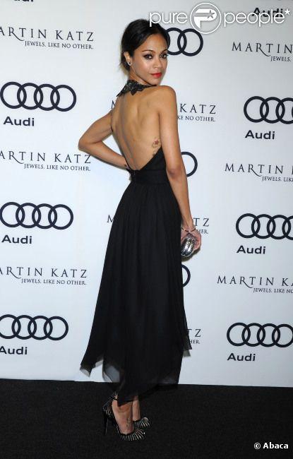 Zoe Saldana, lors de la soirée pré-Golden Globes à Los Angeles, sponsorisée par Audi & Martin Katz le 8 janvier 2012.