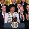 Barack et Michelle Obama le 17 janvier 2012 rendant hommage aux Cardinals de Saint-Louis à la Maison Blanche
