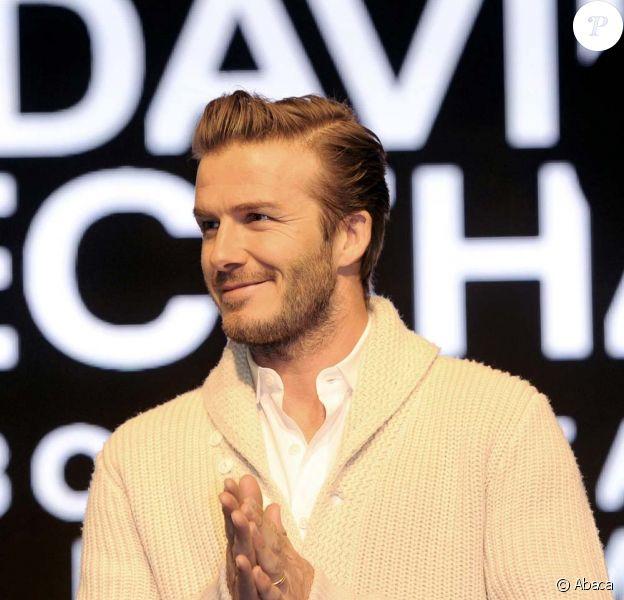 David Beckham, 36 ans, à Londres pour le lancement de sa ligne Bodywear pour H&M, le 1er février 2012.