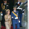 La reine Sofia et le prine Felipe d'Espagne au mariage de Willem-Alexander et Maxima des Pays-Bas.   Le prince Willem-Alexander des Pays-Bas et la princesse Maxima se sont mariés le 2 février 2002 à Amsterdam. Le 2 février 2012, ils célébraient leurs noces d'étain.