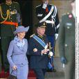 La reine Paola et le roi Albert II de Belgique au mariage de Willem-Alexander et Maxima des Pays-Bas.   Le prince Willem-Alexander des Pays-Bas et la princesse Maxima se sont mariés le 2 février 2002 à Amsterdam. Le 2 février 2012, ils célébraient leurs noces d'étain.