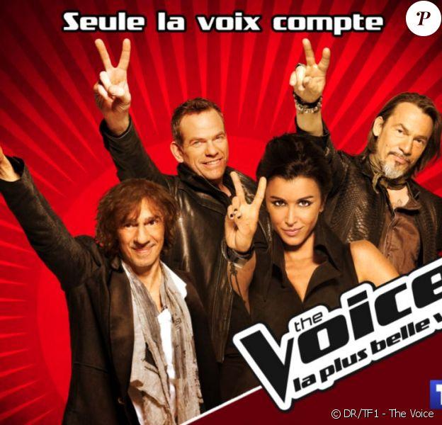 Jenifer, Florent Pagny, Garou et Louis Bertignac dans The Voice : la plus belle voix (sur TF1 dès le 25 février 2012)