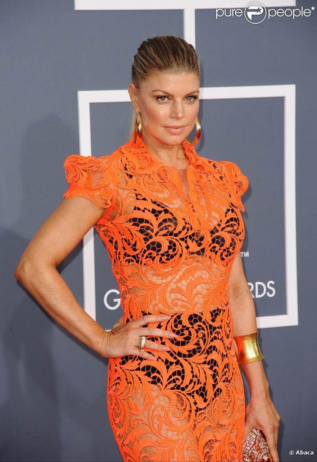 Fergie n'avait rien à cacher sur le tapis rouge de la 54e soirée des Grammy Awards, le 12 février 2012 au Staples Center de Los Angeles.