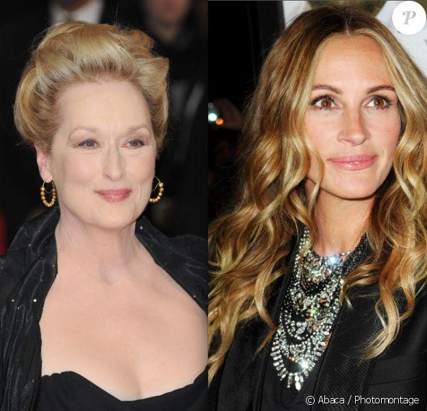 Meryl Streep, en février 2012 à Londres / Julia Roberts, en octobre 2011 à Los Angeles.