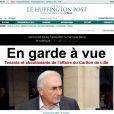 """""""Le  Huffington Post  français, dirigé par Anne Sinclair, fait sa une sur le placement en garde à vue de Dominique Strauss-Kahn, le 21 février 2012."""""""