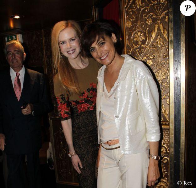 Nicole Kidman et Inès de la Fressange lors de la soirée Tod's à Paris