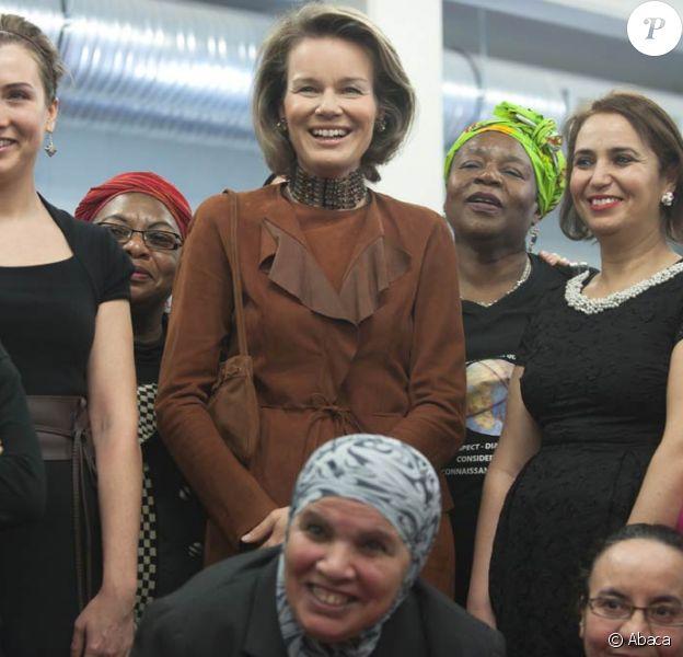 La princesse Mathilde était en visite à la Maison des femmes de Schaerbeek (région de Bruxelles-Capitale) le 6 mars 2012.