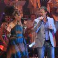 François Feldman et Joniese Jamison lors de l'enregistrement de l'émission Les années bonheur, diffusée le 5 mai sur France 2