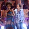 François Feldman et Joniece Jamison lors de l'enregistrement de l'émission Les années bonheur, diffusée le 5 mai sur France 2