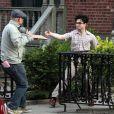 Daniel Radcliffe et Jack Huston sur le tournage à New York en mars 2012 du film Kill Your Darlings