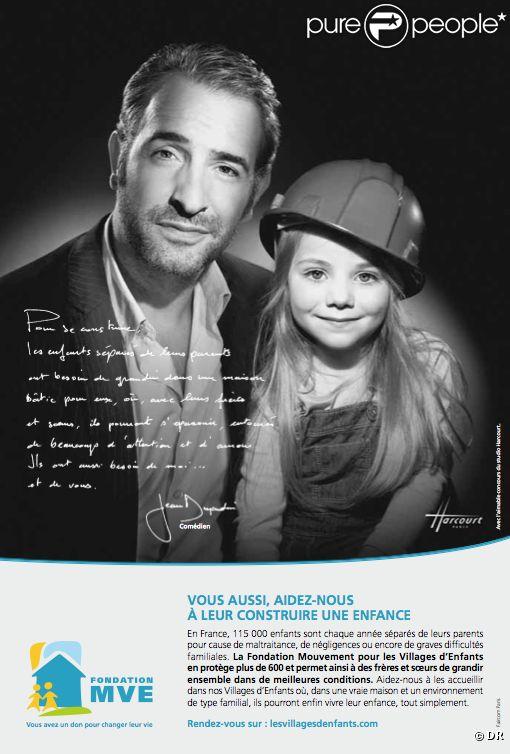 Jean dujardin s 39 engage en noir et blanc pour les enfants for Enfants de jean dujardin