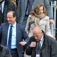 François Hollande et Valérie Trierweiler arrivent au Château de Vincennes, le 15 avril 2012.