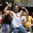 Dwayne Johnson sur le tournage de  Pain and Gain  de Michael Bay, le 24 avril 2012.