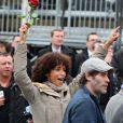 Sonia Rolland et Jalil Lespert place de la Bastille pour la victoire de François Hollande, le 6 mai 2012.