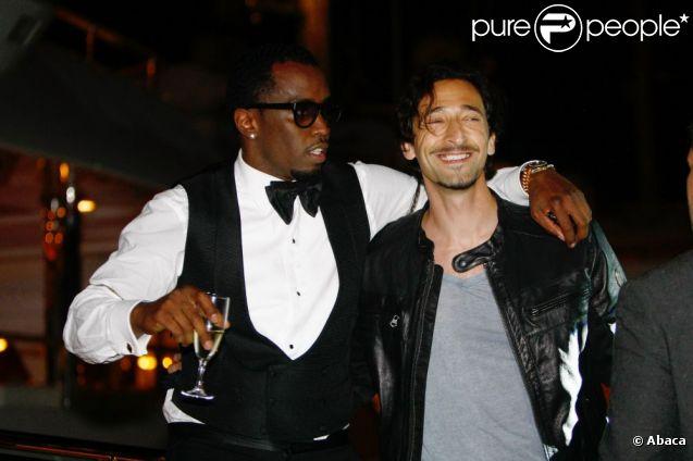 P. Diddy et Adrien Brody lors de la soirée privée de P. Diddy sur un yacht à Cannes le 22 mai 2012