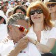 Gérard Holtz et sa compagne Murielle Mayette   à  Roland - Garros , le 28 mai 2012.