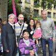 """""""Zinédine Zidane et Guy Alba le 7 juin 2012 lors d'une journée de mobilisation organisée par ELA dans les rues de Paris près du Parc Monceau"""""""