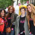 """""""Amel Bent, Nadège Beausson-Diagne, Aurélie Bargème et Sophie Thalmann lors d'une journée de mobilisation organisée par ELA dans les rues de Paris près du Parc Monceau le 7 juin 2012"""""""
