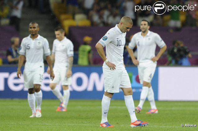 Karim Benzema lors du match de l'équipe de France perdu face à la Suède le 19 juin 2012 à Kiev en Ukraine (2-0)