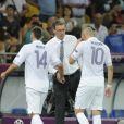 Laurent Blanc, Jérémy Ménez et Karim Benzema lors du match de l'équipe de France perdu face à la Suède le 19 juin 2012 à Kiev en Ukraine (2-0)