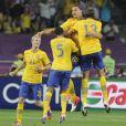 Les Suédois lors de leur victoire face à l'équipe de France le 19 juin 2012 à Kiev en Ukraine (2-0)