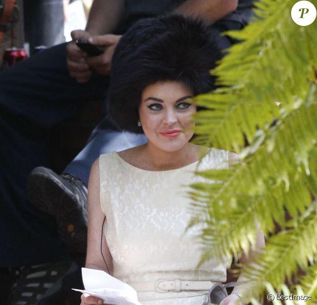 Etonnante, Lindsay Lohan en plein tournage de Liz & Dick à Los Angeles le 21 juin 2012