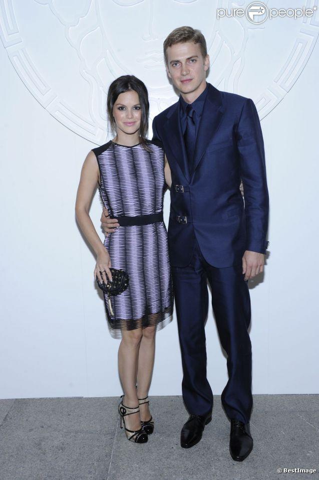 Rachel Bilson et son compagnon Hayden Christensen ont assisté au défilé Versace à Milan le 23 juin 2012
